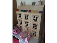 Wooden doll house and furniture (including garden furniture and car)
