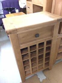 Solid oak wine rack side board new