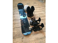 Snow board, boots, bindings, helmet and goggles, second hand