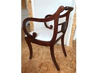 Regency style solid mahogany chairs, restored and French polished.