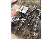 Job lot of power tools and ladders