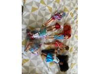 Mixed barbie and Disney dolls