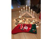 2m White Christmas Xmas Lights & 7 Bulb Window Candle Arch Display Decorations