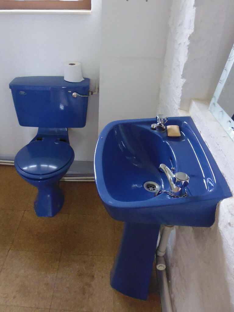 1970s Retro Vintage Royal Blue Pedestal Sink Wash Basin And Toilet