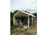 Heavy PVC/plastic marquee for sale. With metal posts/supports and additional PVC windows