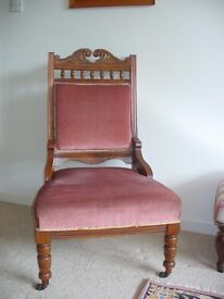 Edwardian Ladies Chair, mahogany frame, rose pink upholstery