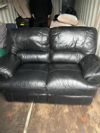 3 Piece Black Leather Suite (2 x 2 Seater and Chair)