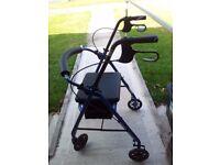 Folding 4 Wheel Mobility Walker with Brakes, Seat & Storage Bag