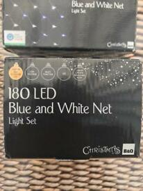 180 blue and white LED net lights