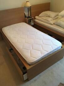 2 x ikea malm single beds. Drawers. New mattresses