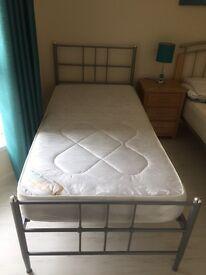 Silver Single Bed Frame plus Mattress