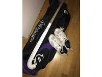 Hockey stick, shoes and bag