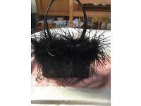 Black satin feather trim evening bag