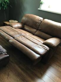 2 seater recliner sofa - brown suede look