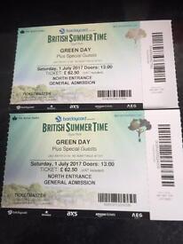 Green day British Summertime tickets x 2