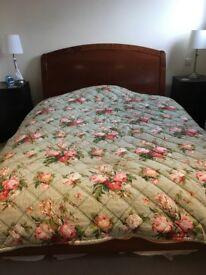 Vintage Mint Green Floral Eiderdown/Quilt/Bedspread/Throw