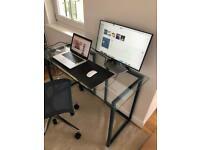 Habitat Nic Small Glass Top Desk