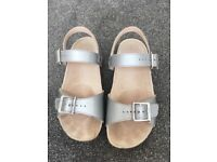 Girls Silver Clark's Sandals Size 13.5 F