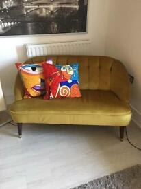 Antique gold/yellow/mustard velvet 2 seater sofa from MADEdotcom