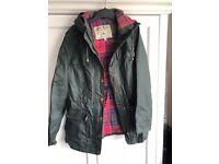 Jack Wills - wax effect khaki coat. Size 8