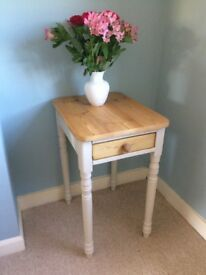 Solid pine console table painted vintage cream, with drawer