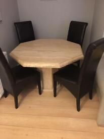 Solid Marble Octagonal dining room table and 4 chairs