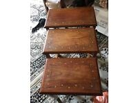 Vintage nest of three french style glass top tables ex condition £60