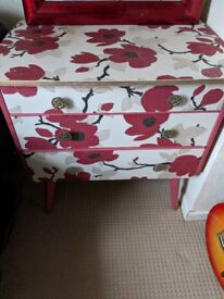 Upcycled Chest of Drawers & High Gloss Red Mirror