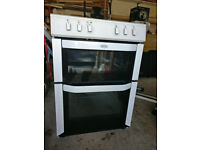White Belling double electric oven, ceramic hobs FSE60DO. Less than 1 year use, excellent condition