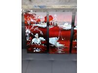Four red laquard mother of pearl engraved pictures forsale