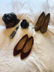 2 pairs of size 41 shoes and hair styling accessories