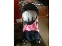 Chicco stroller pink and blue and red Maclaren