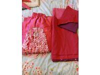 Cerise pink/purple single duvet set,curtains and lightshade