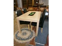 Ex-display bleached oak dining table with granite insert and 4 leather chairs