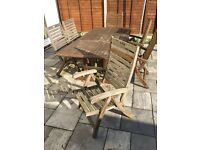 6 x Wooden Folding/Reclining Garden Chairs