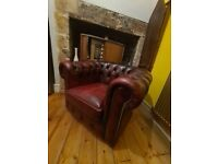 Chesterfield armchair red leather chair