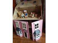 Wooden house doll , 4 dolls and furniture