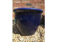 LARGE blue pot planter