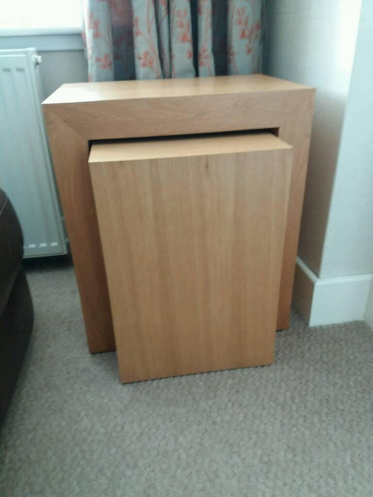 Next solid oak side tables