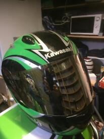 Large size, Kawasaki helmet, like new mirror visor plus spare clear one