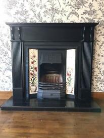 Coal Fire with Mantlepiece and Tiled inserts (No hearth)