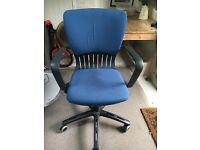 Office swivel chair for sale- upholstery slightly worn but chair works well! £10 ono