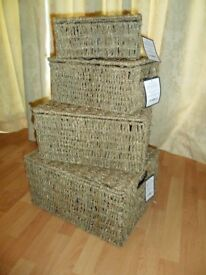 Set of 4 SEA GRASS Nesting Baskets / Hampers - Extra Large through to Small BNIB - RRP £60