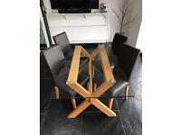 John Lewis - Glass Table & 4 Highback Brown Leather Chairs