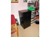 Filing Cabinet Three Drawer In Black Wood