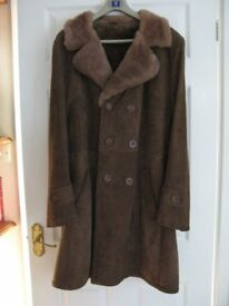 "Mans suede type coat with acrylic lining 40"" chest , 40"" length, good clean condition"