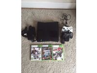 Xbox 360 with: 250gb HDD, 2 Controllers & rechargeable battery pack's and games.
