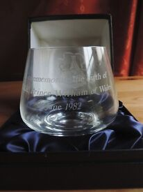 Limited Edition [no5/500] Caithness Glass Commemorative Bowl for Prince William's Birth