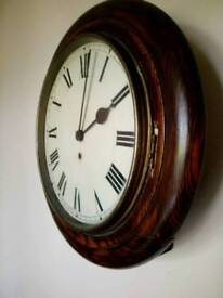 Antique oak school railway clock