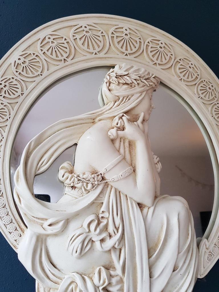Alabaster white/cream art nouveau mirror